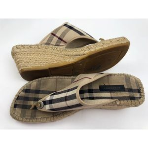Burberry Espadrilles Thong Beige Wedge Sandals